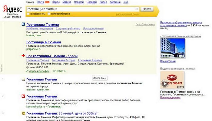 Яндекс директ для гостиницы